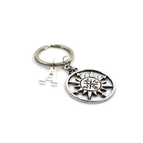 Personalised Compass Keyring with Initial Charm and Optional Birthstone